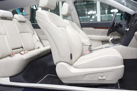 car carpet cleaning seats and panarama window in modern white sport car back viewseats and panarama window in