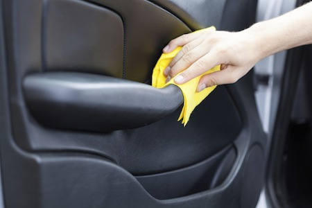 Interior Car Cleaning. Guyu0027s Hand Polishing By Rag Black Car Door